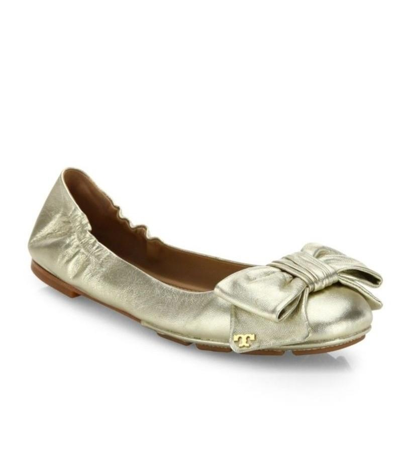Tory Burch Metallic Bow Gold Flats ...