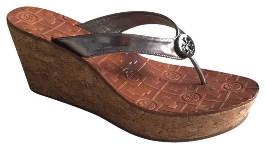 d8550487e6bd Tory Burch Metallic Pewter Thora Wedges Size US 7.5 Regular Regular Regular  (M