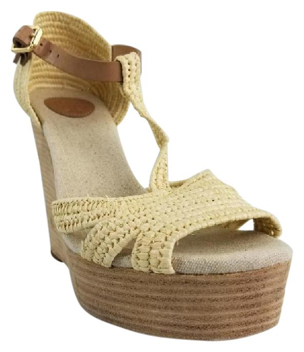 063cfa07c Tory Burch Natural Carina Raffia Raffia Raffia Wedges Size US 7.5 Regular (M