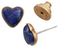 Tory Burch Tory Burch Blue Lapis Stone Heart Earrings