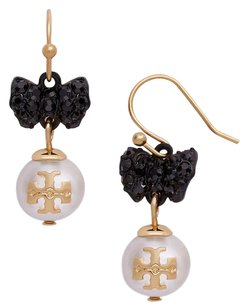 Tory Burch NEW Tory Burch Crystal Bow Earrings Black Bow Tie Ivory Pearl Brass