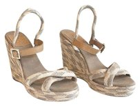 Tory Burch Gray Tan Leather Multi-Color Sandals