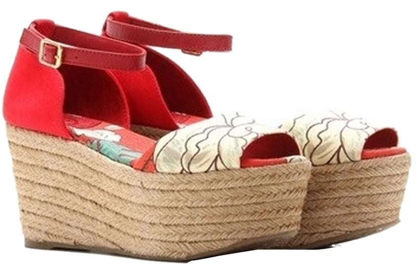 0ce879f233fc Tory Burch Red Red Red Floral Sherri Mid Espadrilles Wedges Size US 8  Regular (M