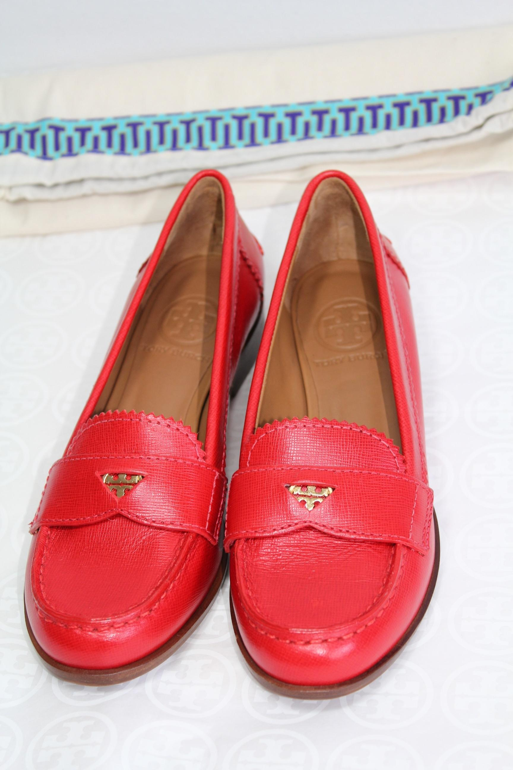 Tory Burch Red Leather Penny Loafers Flats Size US 6 Regular (M, B) -  Tradesy