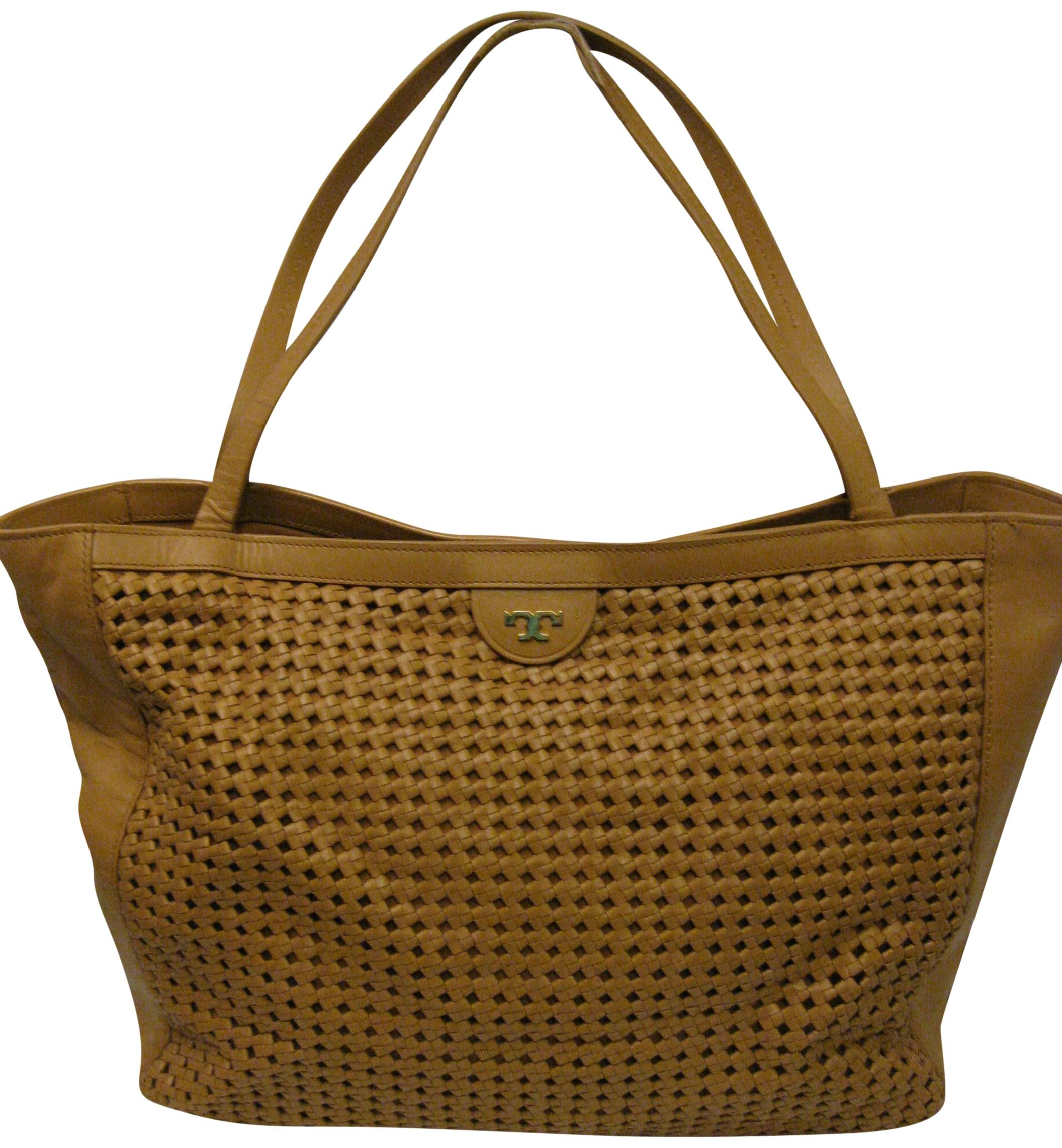 Relatively Tory Burch Romi Woven Purse Ret. Tan Leather Tote - Tradesy KF15