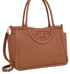 Tory burch serif t satchel Tote in Tan