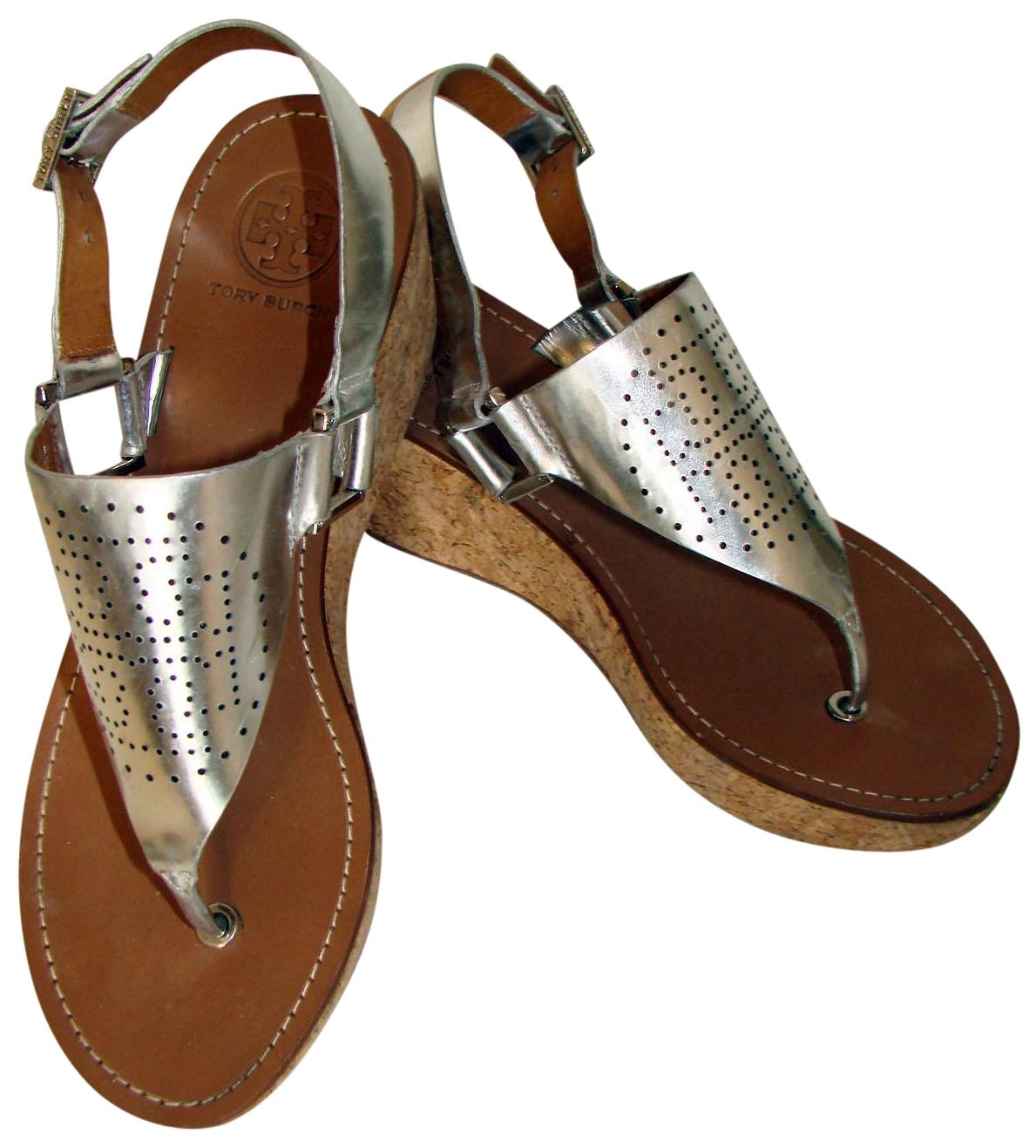 Tory US Burch Silver T Perforated Logo Sandals Wedges Size US Tory 9 Regular (M, B) 9535c7