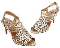 Tory Burch Leather Nadia Size Metallic gold Sandals