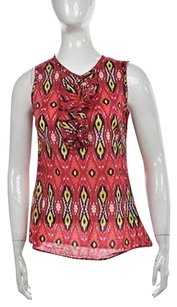 Tory Burch Womens Red Printed Sleeveless Cotton Shirt Top Multi-Color