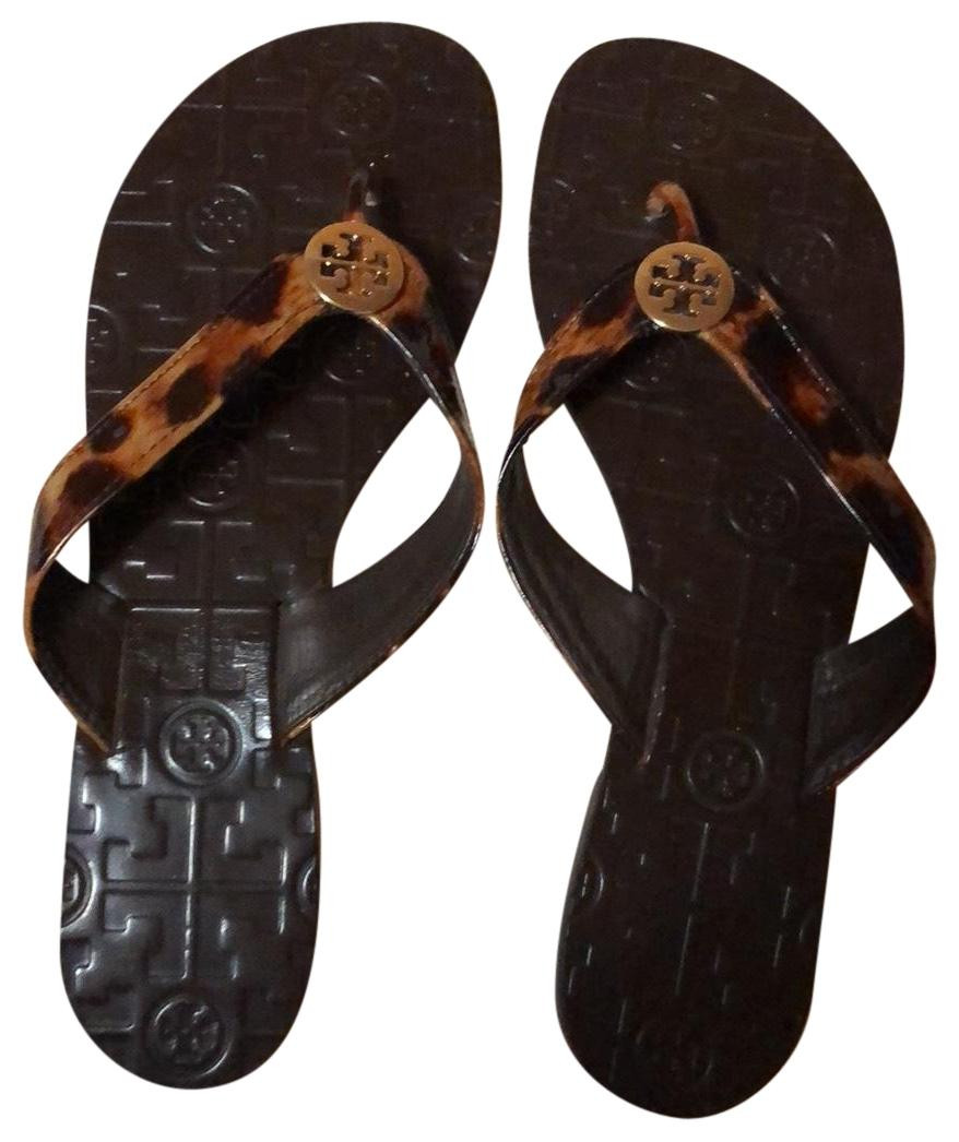 655ab6df3 Tory Burch Tortoise Brown with Gold Double T Logo Monroe Flip Flip Flip  Flop Sandals Size US 8 Regular (M