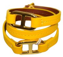 Tory Burch Tory Burch Plato Leather Wrap Bracelet Logo Closure Daisy Yellow Leather