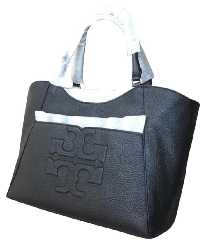 well-wreapped Tory Burch Bombe T East West All T Black Tote Bag ...