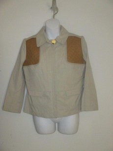 Tory Burch Tan Leather Riding Jacket Trench Coat
