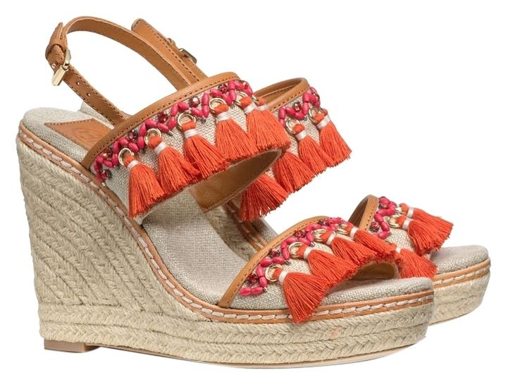 Tory Burch Vacation Espadrille Signature Orange Wedges