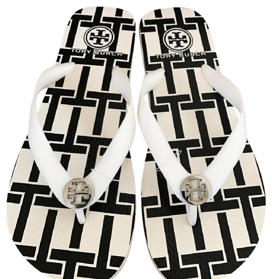 55ee62af80ea Tory Burch White  Black Flip Flops Sandals Size US 7 7 7 Regular (M ...