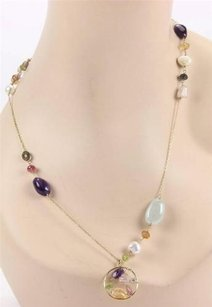 TOUS Estate Tous 18k Yellow Gold Multi Gemstones Pearls Long Necklace -36 Long