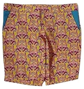 Tracy Negoshian Womens Yellow Pink Printed Shorts Blend Bermuda Pants
