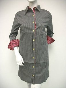 Tracy Negoshian short dress Multi-Color Diana Shirt Black Red Pinstripe Cotton Blend on Tradesy