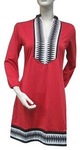 Tracy Negoshian Linda Red Black Knit 34 Sleeve Dress