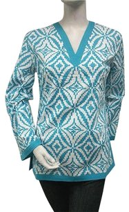 Tracy Negoshian Aqua Blue White Print Maria 100 Cotton Tunic