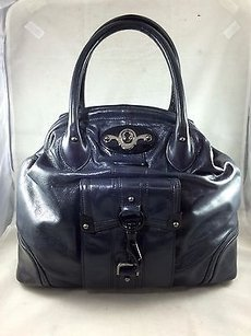 Tracy Reese Leather Two Strap Structured Tote in Navy