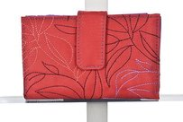 Travelon Travelon Womens Red Embroidered Wallet Set Casual Handbags Purses