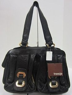 Treesje Treeje Black Leather Satchel in Blacks