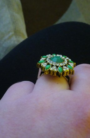 Tribal Antique Victorian Inlaid Large Green Stone Salem Witch Ring
