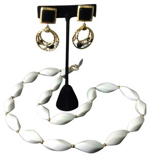 Trifari Black And White Necklace And Earrings On Sale now!