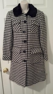 Trina Turk Fur Faux Fur Houndstooth Full Length Satin Pea Coat