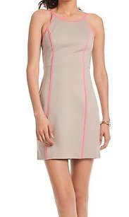 Trina Turk Taupe Hot Pink Yvette Body Conscious Ponte 180287a F Dress