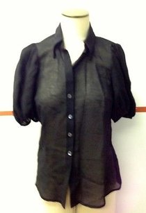 Trina Turk Sheer Button Top Black