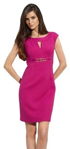 Trina Turk Tweed Sheath Keyhole Embellished Fitted Dress
