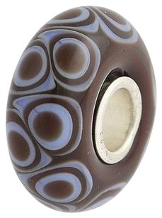 Trollbeads Trollbeads Charm - Brown White Sterling Silver Murano Glass Bead Laa 925