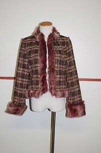 True Meaning Long Sleeve Clasp Front Faux Fur 19024 Pink/Brown Jacket