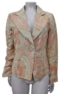True Meaning True Meaning Womens Khaki Paisley Notched Collar Sparkle Blazer