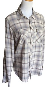 True Religion Button Down Shirt Gray and white