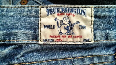 True Religion Boot Cut Twisted Low Rise Flare Leg Jeans-Light Wash