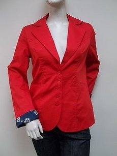 Tulle Cotton Blend Blazer Red Jacket