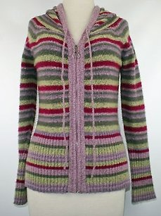 Tulle Grey Magenta Yellow Striped Hoodie B161 Sweater