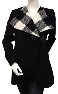 Tulle Wool Blend Houndstooth Moto Lapel Single Button Pea Coat