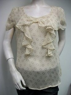 Tulle Bow Ribbon Tied Ruffle Top Beige