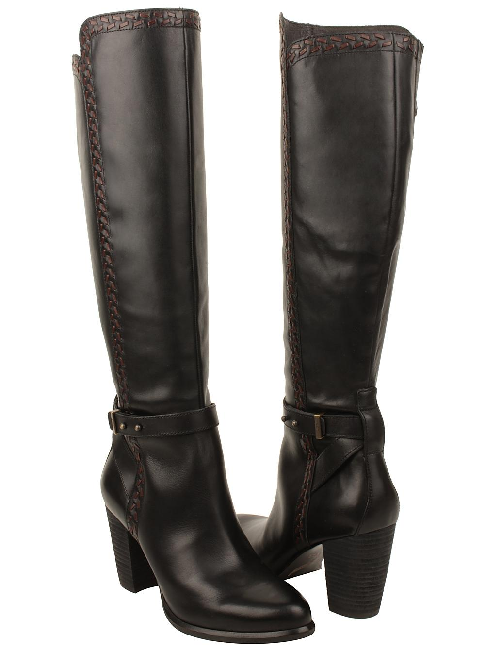 UGG Australia Claudine Tall Stacked Heel Leather black Boots ...