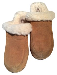 UGG Australia Boots Winter Heels Small Tan White Mules