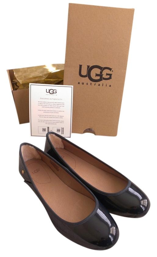 UGG Australia Sheepskin Patent Classic Simple Navy Flats ...