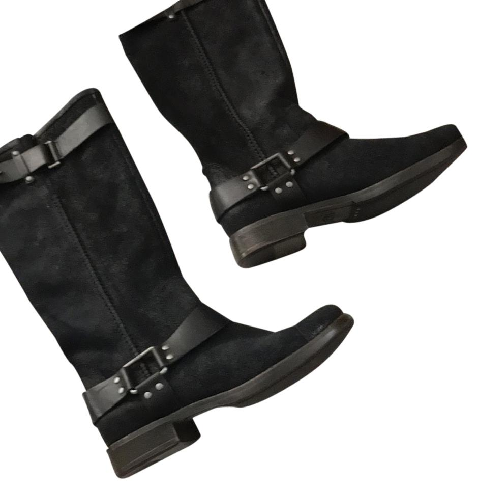 black leather suede ugg boots boots on tradesy