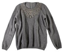 Other Cashmere Crystal Gray Italian Bar Sweater