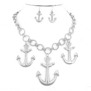 Nautical Drop Anchor Charm Rhodium Silver Tone Necklace and Earrings