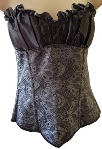 Corset Satin New Ruched Top Silver