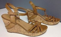 Unisa Leather Open Toe Brown Platforms
